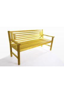 Banco Para Jardim 3 Lugares Echoes - Banco De Madeira Com Encosto - Cor Amarelo - 167X66X85 Cm