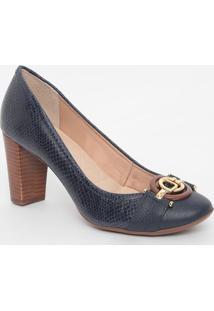 Sapato Em Couro Texturizado Com Aviamentos- Azul Marinhojorge Bischoff