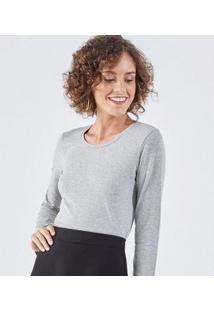 Camiseta Liz Easywear Manga Longa Feminina - Feminino-Cinza Claro