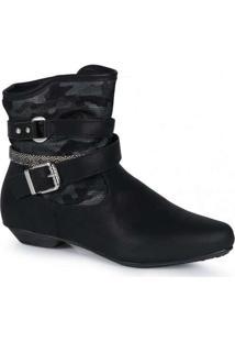 Ankle Boots Infantil Mooncity Camuflada Preto