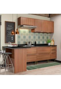 Cozinha Compacta Calábria Com Tampo 7 Portas Nogueira - Multimóveis