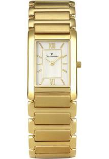 Relógio Analógico Jv02006- Branco & Dourado- Jean Vejean Vernier