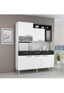 Armário De Cozinha 6 Portas 1 De Vidro 3 Gavetas Regina Itatiaia Branco/Preto