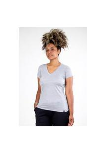 Camiseta Meio Swag Básica Gola V Cinza Claro