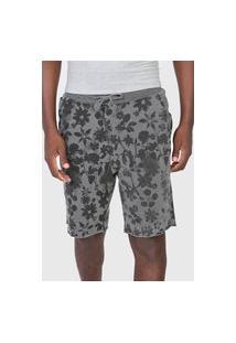 Bermuda Calvin Klein Jeans Reta Floral Cinza