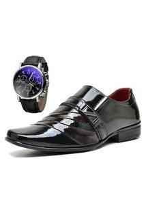 Sapato Social Com Verniz Com Relógio Dubuy 632Mr Vermelho