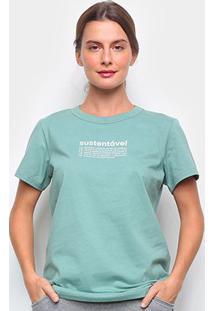 Camiseta Colcci Sustentável Feminina - Feminino-Verde