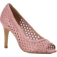 5efb4de7c Peep Toe Couro Shoestock Salto Fino Tressê - Feminino-Rosa