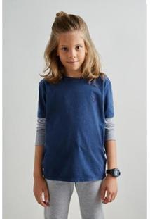 Camiseta Infantil Reserva Mini Sm Manga Longa Bicolor Masculina - Masculino-Azul Petróleo