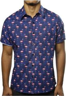 Camisa Camaleão Urbano Flamingos Masculina - Masculino-Azul