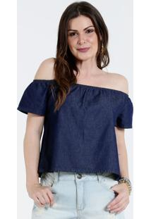 Blusa Feminina Ombro A Ombro Jeans Marisa