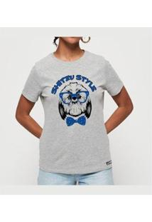 T-Shirt Shitzu Style Buddies Feminina - Feminino-Mescla