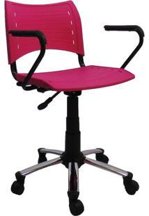 Cadeira De Escritório Secretária Giratória Evidence I Cromada E Rosa