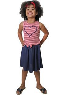 Vestido Infantil Duduka Menina Vermelho/Marinho - 6