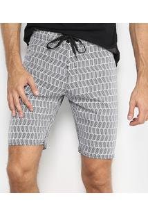 Bermuda Mood Geométrico Masculina - Masculino-Branco+Preto