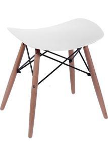 Banqueta Eames Dkr- Branca & Madeira- 46X47X53Cmor Design