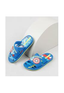Chinelo Slide Infantil Ipanema Capitão América Estampado Azul
