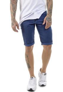Bermuda Offert Sarja Premium Slim Fit Azul.