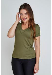 T-Shirt Verde Mila Cloã¡ - Preto - Feminino - Dafiti