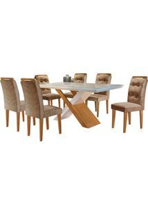 Sala De Jantar Imperatriz 1.80M Com 6 Cadeiras Imbuia/Off White Sued Animale Chocolate