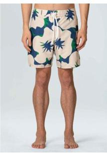 Bermuda Surf Masc Shoegaze Flowers-Areia/Verde/Azul - 46 - Masculino