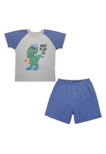 Pijama Juvenil Look Jeans Dino Curto Azul