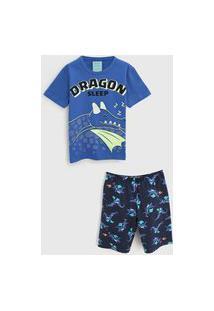 Pijama Kyly Curto Infantil Dragão Azul