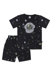 Pijama Meia Malha - 46563-263 - (4 A 10 Anos) Pijama Rotativo Preto - Infantil Menino Meia Malha Ref:46563-263-10