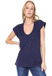 Camiseta Colcci Destroyed Azul-Marinho