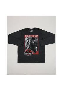 Camiseta Juvenil Jurassic Park Manga Longa Gola Careca Cinza Mescla Escuro