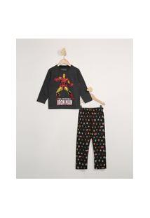 Pijama Infantil Manga Longa Homem De Ferro Cinza Mescla Escuro