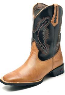 Bota Texana Fak Boots Cano Longo Bordado Banana