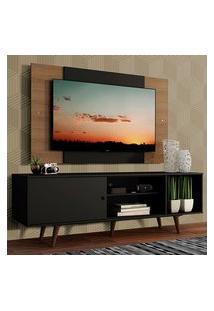 Rack Madesa Dubai Com Pés E Painel Para Tv Até 58 Polegadas Preto/Rustic 8Nc1 Cor:Preto/Branco/Branco