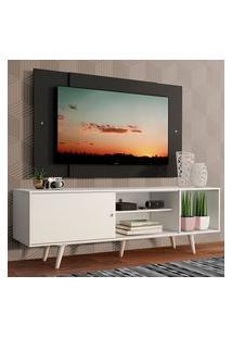 Rack Madesa Dubai Com Pés E Painel Para Tv Até 58 Polegadas - Branco/Preto 0977 Branco