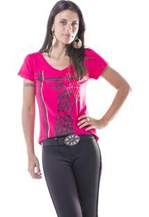 Camiseta Marcia Mello Moça C Oculos Pink