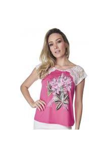 T-Shirt Celestine Pink Manga De Renda
