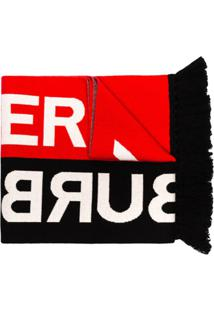 Burberry Cachecol Vermelho E Preto De Tricô Com Logo