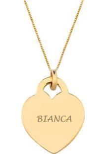 Colar Pingente Coração Com Nome Personalizado Liso Banhado A Ouro 18K