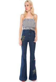 Calça Jeans Flare Pintada A Mão Flamingo