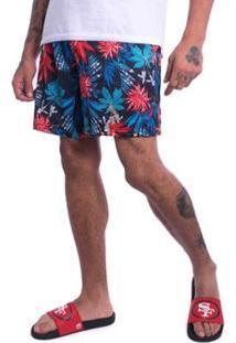 Bermuda Jota K Sintetica Floral Furadinha Masculina - Masculino-Vermelho