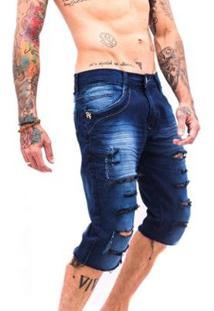 Bermuda Rich Jeans Destroyed Rasgada Masculina - Masculino-Azul Escuro