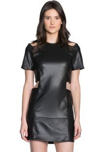 Vestido Amaro Curto Com Recortes Leather - Feminino