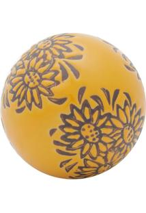 Bola Decorativa Floral Laranja E Marrom 5,5X5,5X5,5