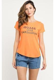 T-Shirt Manola Kardashian Feminina - Feminino-Laranja