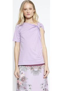 Camiseta Lisa Com Torção- Lilás- Colccicolcci