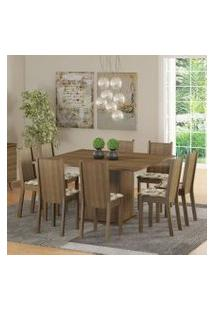 Conjunto Sala De Jantar Madesa Clarice Mesa Tampo De Madeira Com 8 Cadeiras Rustic/Lírio Bege