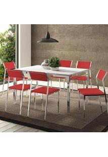 Mesa 1526 Branca Cromada Com 6 Cadeiras 1709 Vermelho Real Carraro
