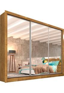 Guarda-Roupa Casal Com Espelho Siena Top 3 Pt Ipe Rustic E Off White