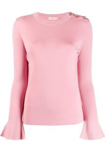 Tory Burch Rhinestone-Embellished Bell-Sleeves Pullover - Rosa