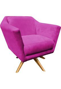 Poltrona Decorativa D'Rossi Lorena Suede Pink Com Base Giratória De Madeira